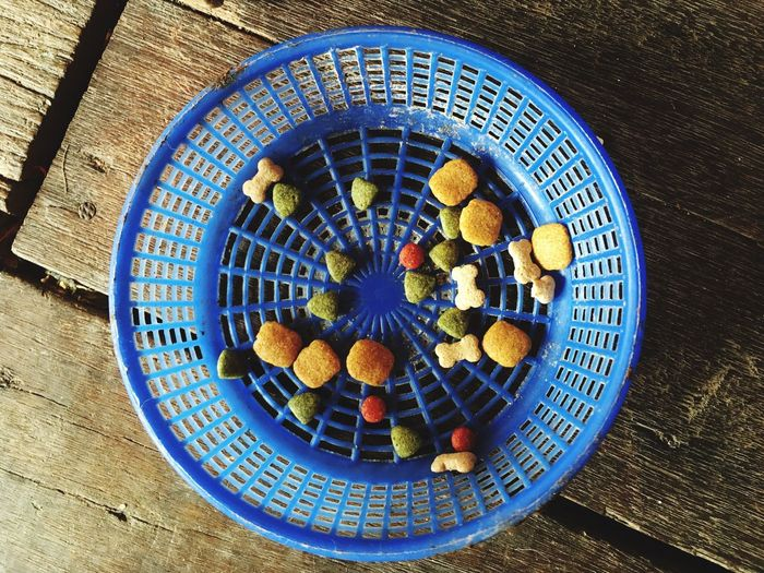 High angle view of food in basket on table