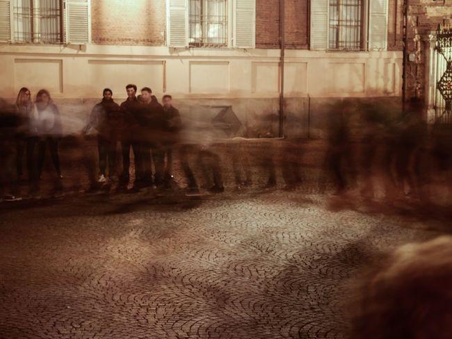 Motion Long Exposure Evening Outdoors Horizontal Turin Italy City Large Group Of People Blur Dancing Balli Occitani