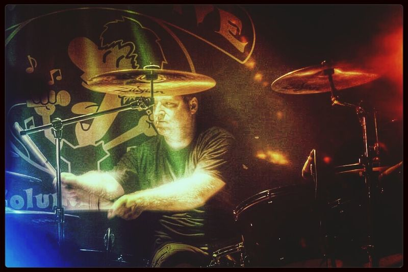 Me on Drums. Live Music Levity In Action O'Sheckys Drums-pic by Faith Formyduval. My edit.