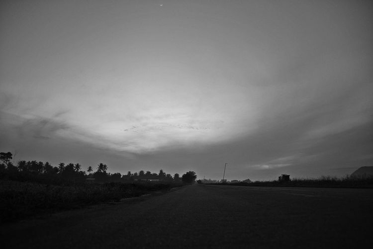 EyeEmNewHere Beauty In Nature Black And White Photography Day Early Morning Sky Landscape Nature No People Outdoors Road Scenics Sky The Way Forward Tree
