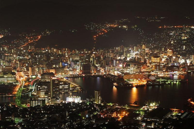 長崎 稲佐山からの夜景 Night View 夜景 夜景写真 稲佐山 稲佐山展望台 City Cityscape Illuminated Nightlife Neon