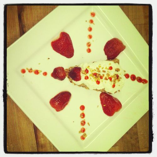 Dessert i made at votech Chocolate mousse with strawberries