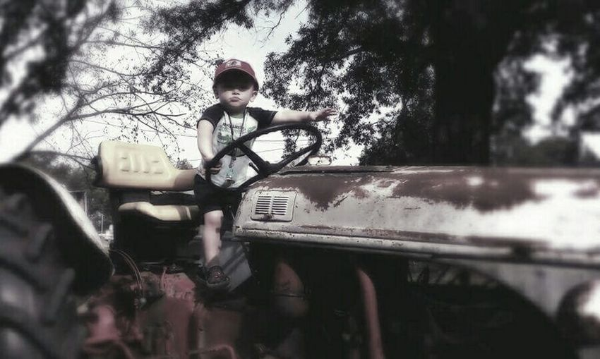 Boy Outside Tractor Childs Play Down On The Farm Kids Old Tractor Rusty