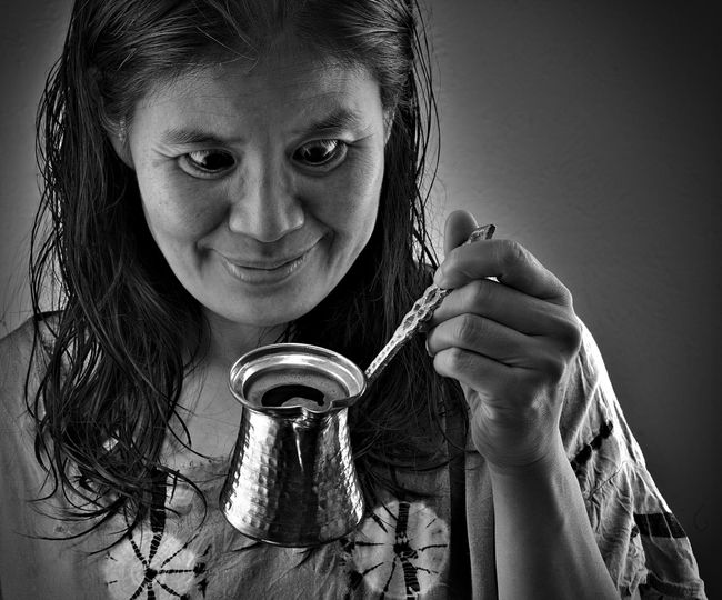 Morning Coffee Cezve Adult Adults Only Blackandwhite Coffee Maker Day Front View Headshot Holding Indoors  Looking At Camera One Person People Portrait Real People Smiling Turkish Coffee