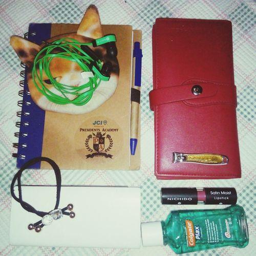 whats inside my bag 😂 Notebook Wallet Lipstick Mouthwash Powerbank Earphone Ballpen Hair Accessories Coin Purse Nailcutter No People Day