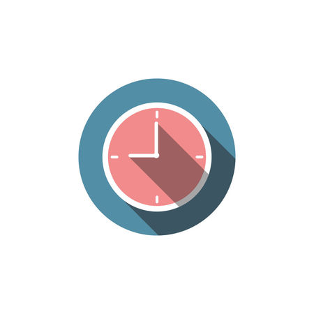 Flat clock icon Isolated on white background for graphic design, logo, web site, social media, mobile app, illustration Time Circle Deadline Graphic Hour Icon Modern Second Acts Shape Sign Alarm Clock Design Equipment Face Interface Minute Hand Nine Number Numeral Round Stopwatch Symbol Ticking Watch