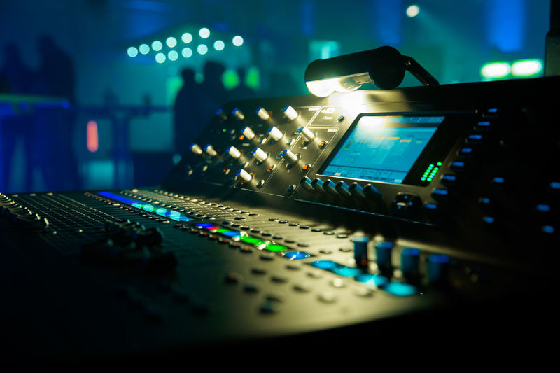 Close-Up Of Illuminated Lighting Equipment In Nightclub