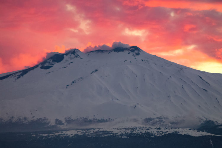 Sky Beauty In Nature Sunset Mountain Cloud - Sky Scenics - Nature Tranquil Scene Tranquility Snow Cold Temperature Idyllic Winter Non-urban Scene Snowcapped Mountain Environment No People Nature Landscape Mountain Peak Outdoors
