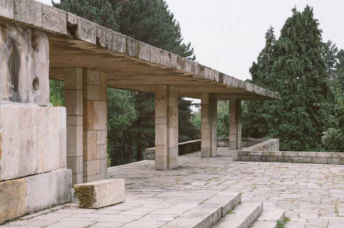 Architecture Brutalism Colonnade Concrete Historic History Leading Monument Nature No People Stone Material