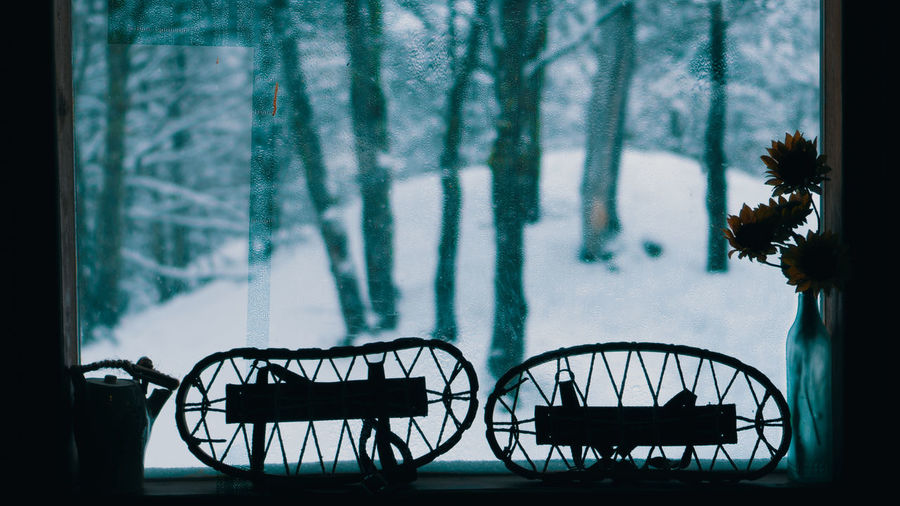 Silhouette of bicycle in winter