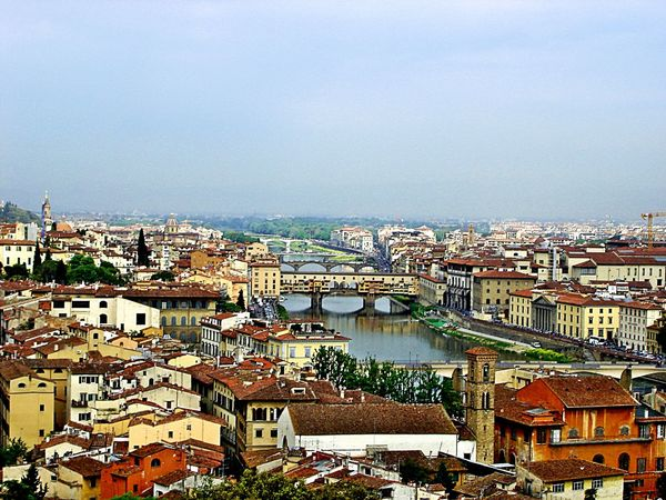 Bridge Cityscapes Firenze Italy Old Buildings River Summer Toscana Town Travel Photography