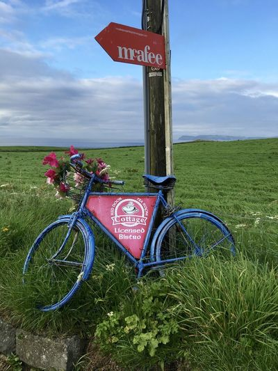 Local Northern Ireland Northern Ireland Tourism Quaint  Sign, Sign, Everywhere A Sign Advertisement Bicycle Communication Europe Field Grass Transportation Vacation Destination EyeEmNewHere