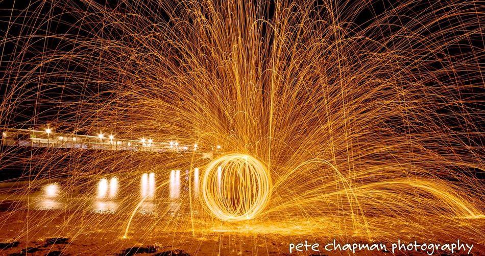 Fire Long Exposure Light Painting Steel Wool Spinning Light Trails Boscombe Pier  Light Orb