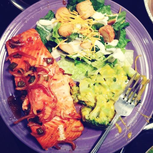 Salmon, salad & cheese broccoli