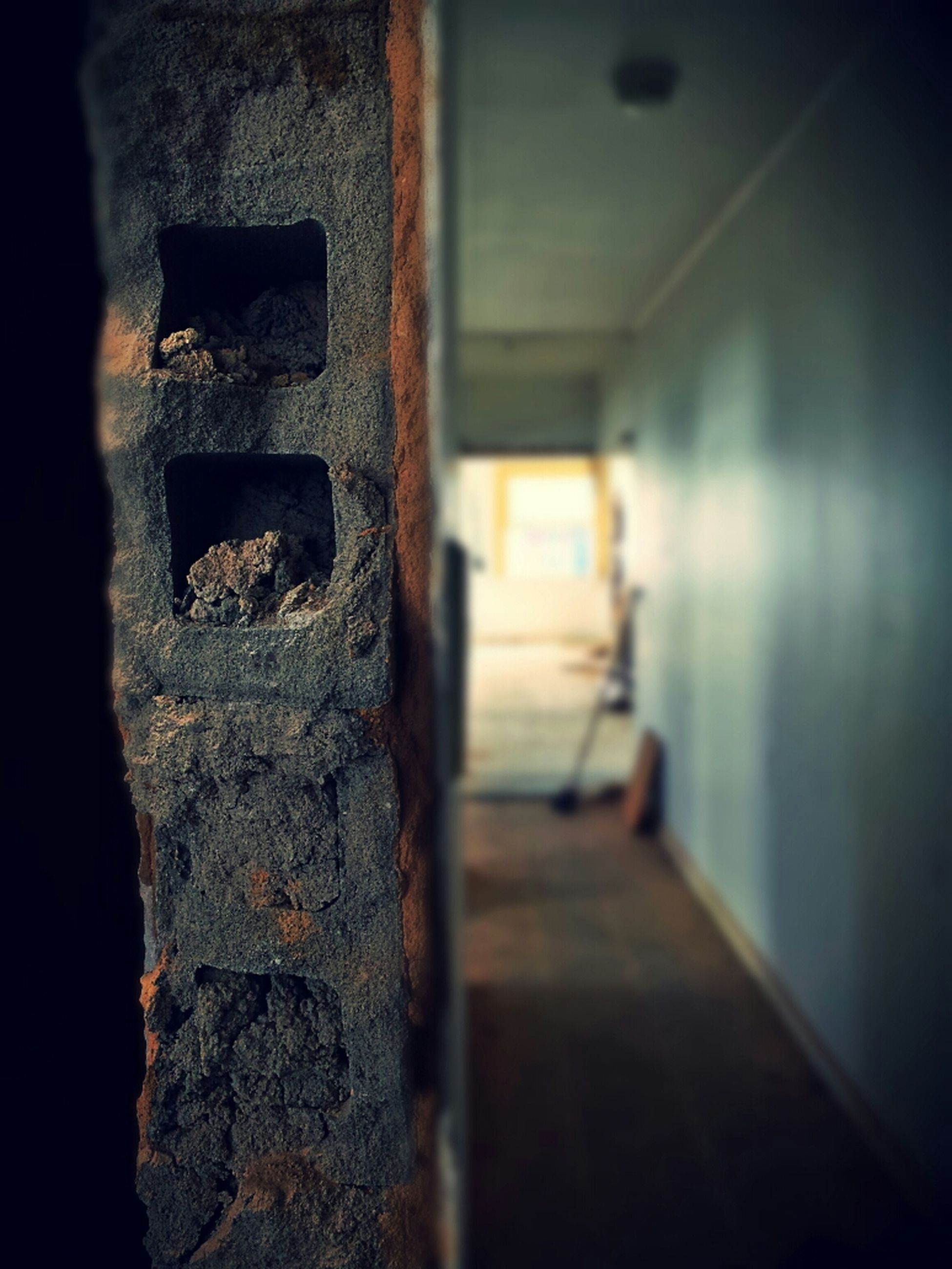 indoors, built structure, architecture, wall - building feature, old, abandoned, wall, door, corridor, building, steps, the way forward, sunlight, weathered, deterioration, damaged, staircase, no people, house, selective focus