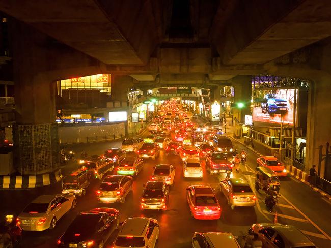 Day of traffic jam and many car on night at Bangkok Cars Traffic Jam Traffic Jam In Bangkok Architecture Car City Illuminated Land Vehicle Many Cars Night No People Outdoors Traffic Jam City