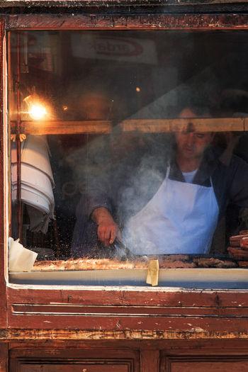 Man selling kebabs