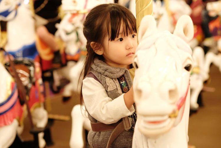 Cute girl sitting on carousel horses at amusement park