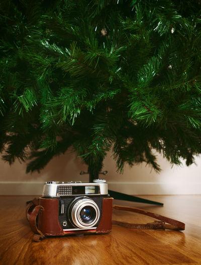 Vintage camera by christmas tree on floor