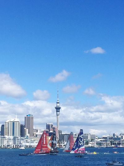 Perfect spot for a bit of racing Boats On The Water Sunshine Summer Volvo Ocean Race Skytower, Auckland. NZ. Architecture Built Structure City Building Exterior Building Sky Tower Cityscape Cloud - Sky