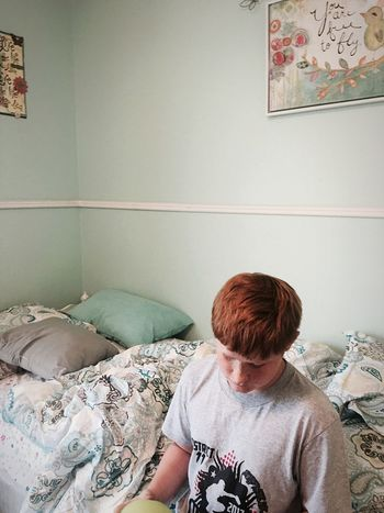 Redhair Redhead Red Indoors  Real People One Person Bed Home Interior Bedroom Lifestyles Day Young Adult People Style Portrait EyeEm Best Shots EyeEmBestPics Boy Man One Young Man Only Young Man Looking Down Inside Front View Casual Clothing Breathing Space The Week On EyeEm