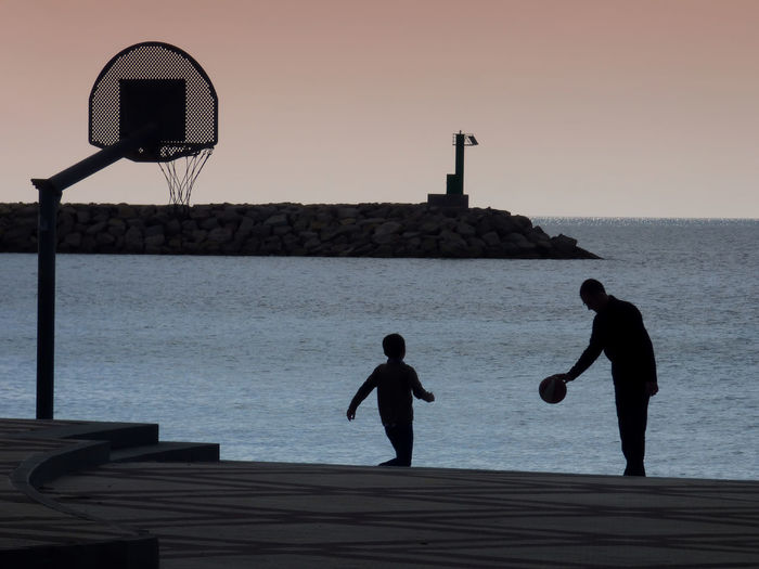 Day Father Playing Basket With His Son Free Time Fun Holiday Outdoors People Two People Millennial Pink