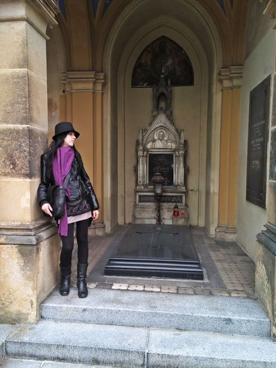Full length of woman walking in temple