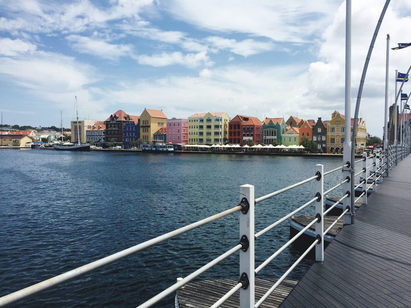 Pontjesbrug Curacao☀️ Otrabanda Punda Curacao Cloud - Sky Water Sky Built Structure Architecture Railing Building Exterior