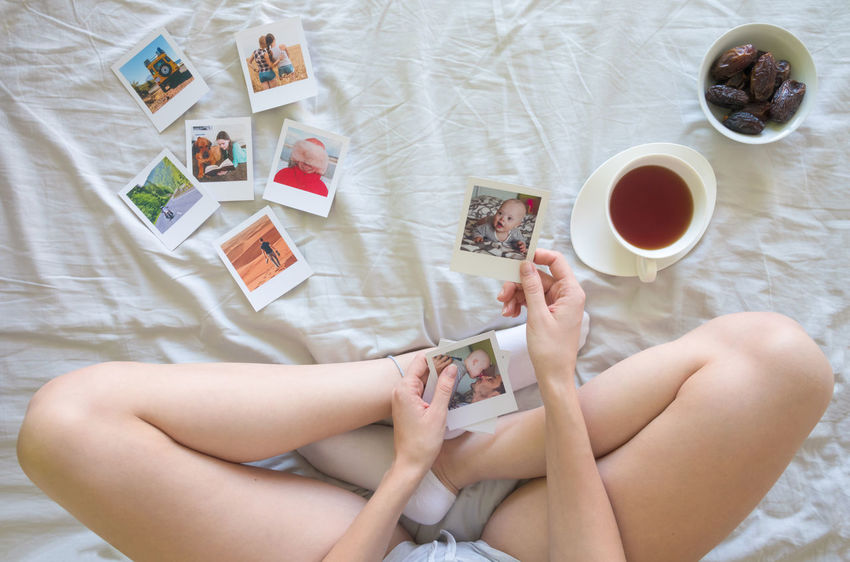 Bed Memories Photoshoot Woman Concept Girl Holding Legs Memory Photo Poloroid Poloroidpicture Socks Young Adult Young Women