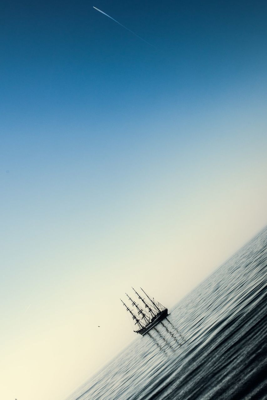 copy space, clear sky, outdoors, sea, scenics, no people, nature, day, sky, water, beauty in nature, horizon over water, nautical vessel
