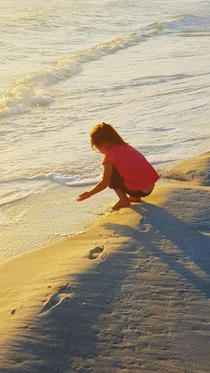 Life Through Little Eyes Beach Time Innocence Sunlight Cloud And Sky Sand Water Beach Beachscape Day At The Beach Tide Coming In Alone Time