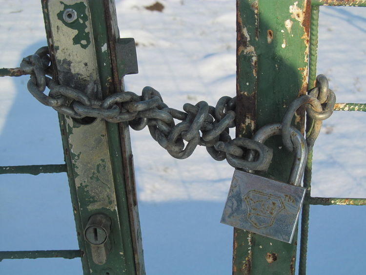 Closed gate with iron chain Chain Closed Closed Gate Iron Chain Lock Outdoors Padlock Security