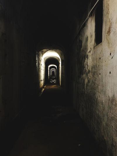 Empty corridor of old building