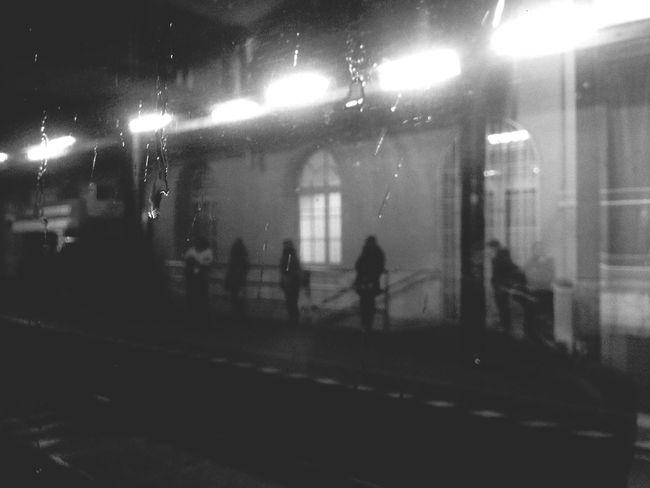 It's raining :/ Taking Photos Blackandwhite Random People People Watching Waiting Raindrops Train Station Going Home