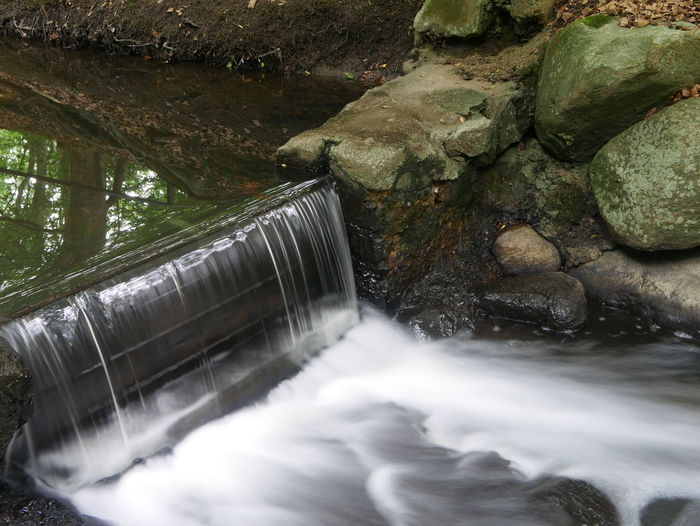 Water flowing from dam