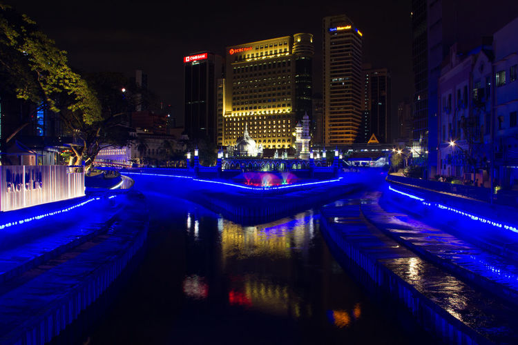 Shoot at night in River of Life at Kuala Lumpur, Malaysia Architecture Building Exterior Built Structure City Illuminated Night Outdoors Sky Tree Water