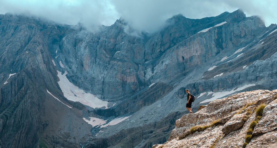 Panoramic view of person on mountain range