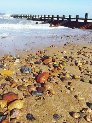 Waves Splashing Sea Sea Side Nature Seascape Rock Rock - Object Water Sea Beach Sand Wave Pebble Beach Low Tide Pebble Shore Coast Seashore