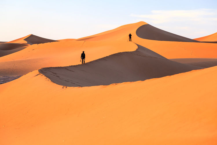 View of Sahara desert in Morocco Africa Arabia Day Daylight De Deserts Around The World Destination Dry Dune Erg Chigaga Famous Place Morocco Natur Outdoors Plant Sahara Desert Sand Dune Sandy Beach Scenery Scenic View Sky And Clouds Travel View