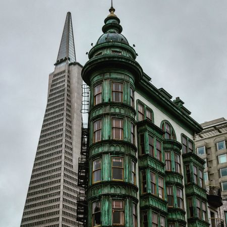Transitamerica Pyramid & Columbus Tower Architecture Low Angle View Building Exterior Built Structure No People Government Outdoors Sky Politics And Government Day City San Francisco San Francisco Ca SAN FRAN Transamerica Pyramid Columbus Tower