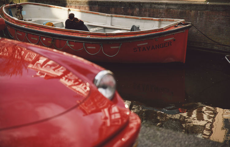 2016 April Boat Bonet Canal Caring Day Information Information Sign Lifestyles Love Love Boat Mode Of Transport Moment Outdoors Red Red Car Reflection Spring Your Amsterdam Youth The Street Photographer - 2016 EyeEm Awards MeinAutomoment Two Is Better Than One Focus On The Story