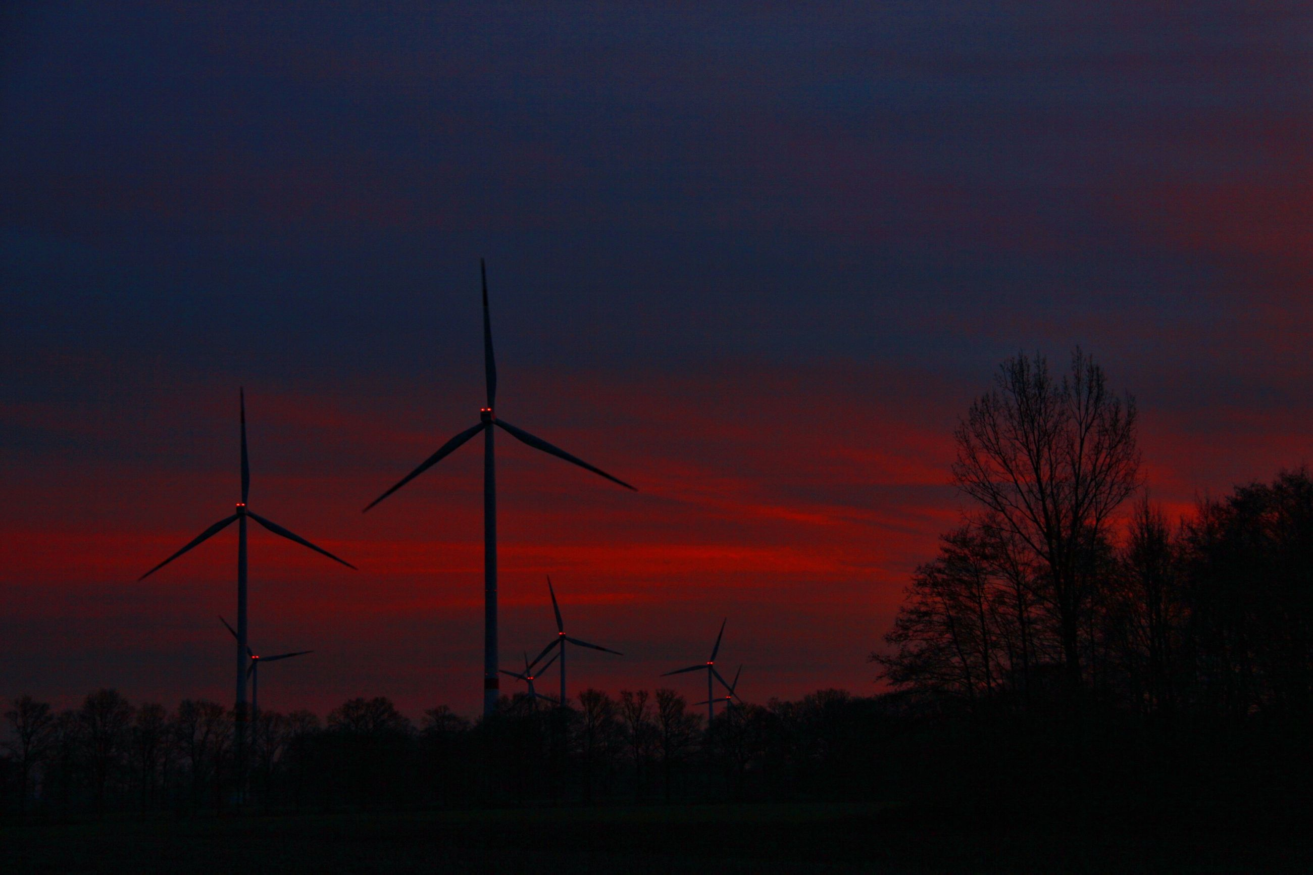 sunset, silhouette, orange color, wind power, tranquility, tranquil scene, wind turbine, scenics, windmill, fuel and power generation, alternative energy, tree, sky, beauty in nature, landscape, environmental conservation, nature, field, renewable energy, idyllic