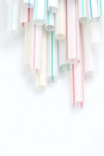 Closeup on colorful plastic straws Close-up Still Life Multi Colored Plastic Straws Drinking Straws Pollution Hazard Colorful Macro
