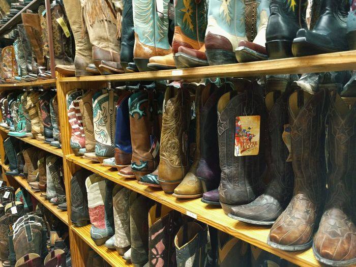 Cowboy boots in displayed for sale in store