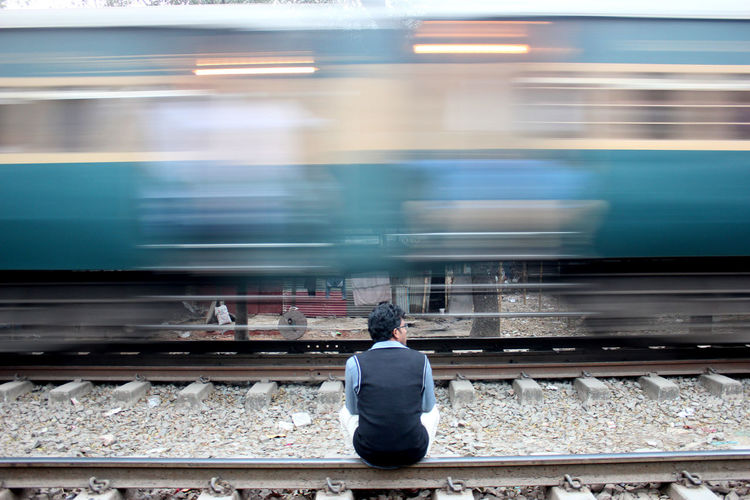 Alone Blurred Motion Motion On The Move Passenger Train Photography In Motion Public Transportation Rail Track Rail Transportation Railroad Track Speed Train Train - Vehicle Transportation Need For Speed