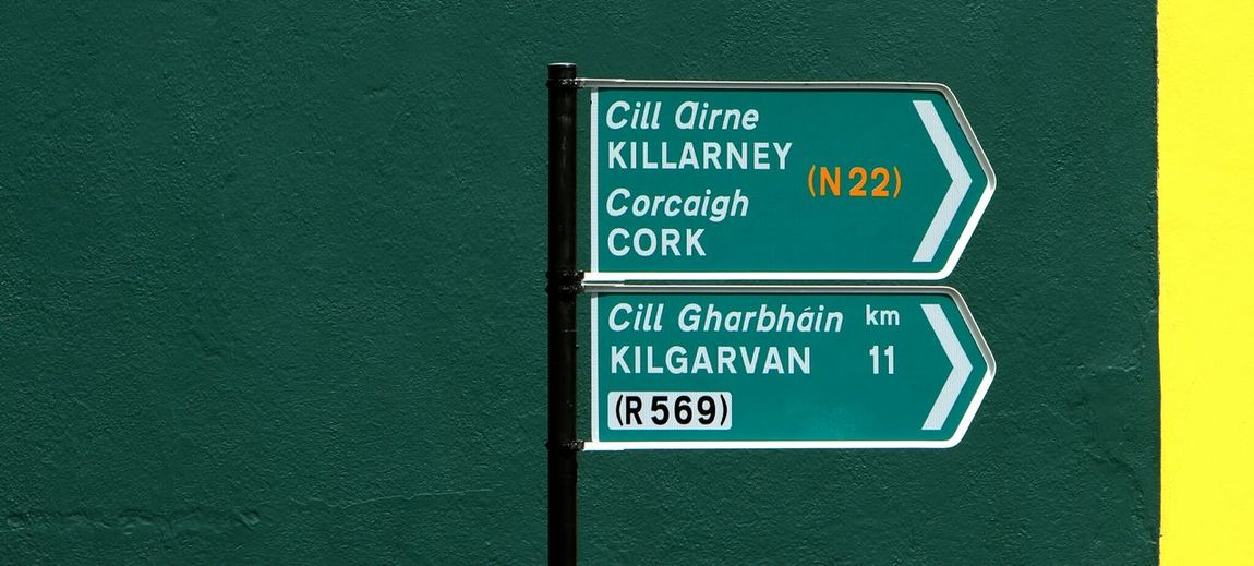 Sign board on road