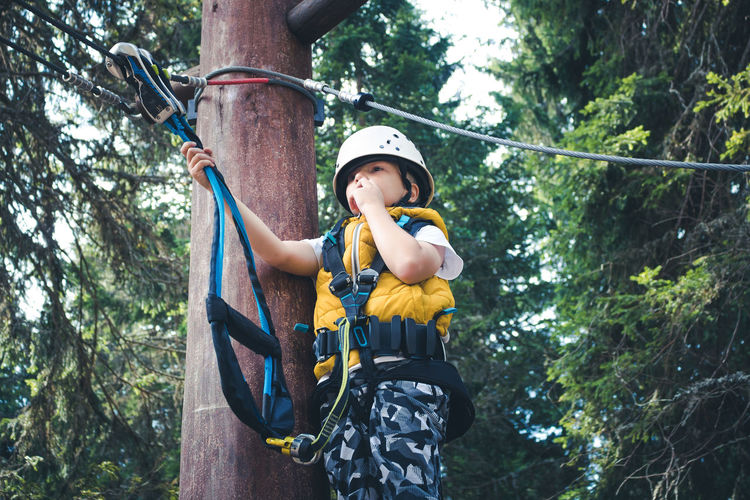 Low angle view of kid standing on treetop while having rope course at adventure park.