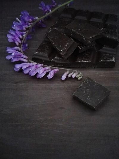 Chocolate Purple High Angle View Studio Shot Flower Dark Chocolate Temptation Sweet Chocolate Chocolate Time Food And Drink Dessert Sweet Food Chocolate