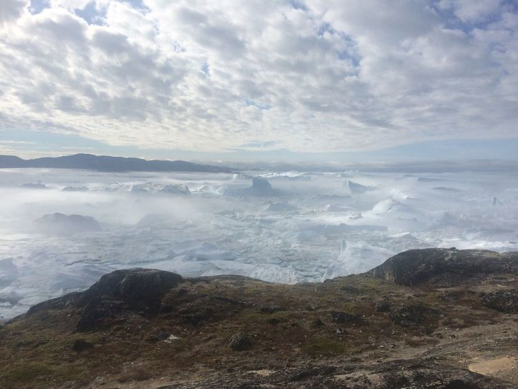 Ice Icy Wonderland Nature Beauty In Nature Cloud - Sky Sky Day Water Mountain Clear Sky Sermermiut Icefjord Frozen Glacier Iceberg Ilulissat Greenland Nature Beautiful Amazing View Beauty In Nature Fog Foggy