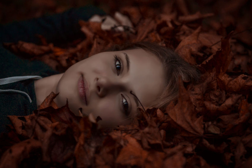 Autumn Autumn Portrait Autumn colors Autumn Leaves Fall Fall Colors Halloween Portrait Portrait Of A Woman Portrait Photography Headshot One Person Plant Part Leaf Looking At Camera Lying Down Beautiful Woman Young Adult Women Lying On Back Smiling Hair Human Face Hairstyle Innocence Leaves Brown Hair Change Dry